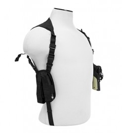Vism By Ncstar Ambidextrous Horizontal Shoulder Holster/Double Magazine Holder/Black